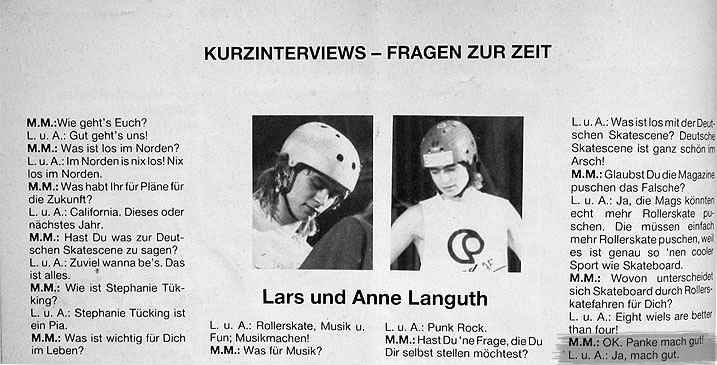 Interview Arne and Lars Languth<br> Monster Skateboard Magazin No. 5<br> 1987